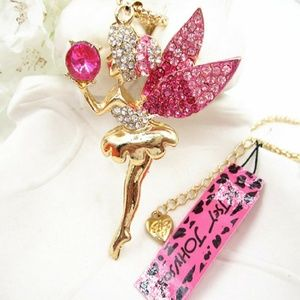 2/$18 Betsey Johnson Pink Crystal Fairy Necklace